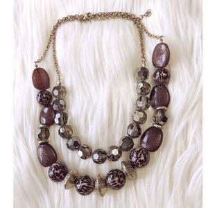 Animal print double strand statement necklace